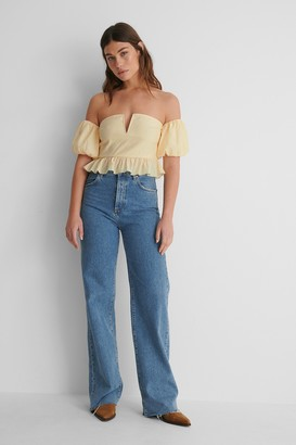 NA-KD Off Shoulder Puff Short Sleeve Top
