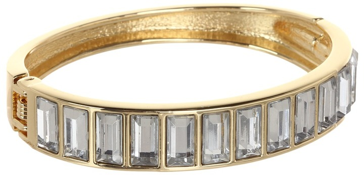 Betsey Johnson Heart and Bow Crystal Hinge Bracelet (Crystal) - Jewelry