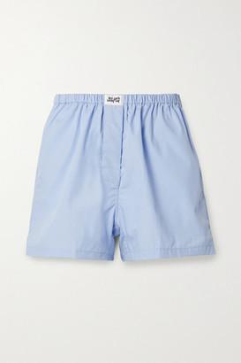 Les Girls Les Boys Appliqued Cotton Pajama Shorts - Sky blue