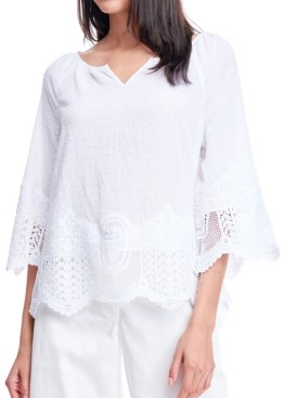 Fever Striped Swiss-Dot Lace Top