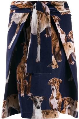 Sara Roka Vea dog-print skirt