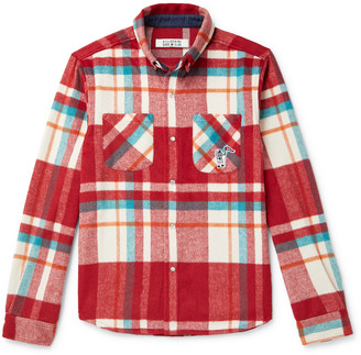 Billionaire Boys Club Button-Down Collar Appliqued Checked Brushed-Flannel Shirt