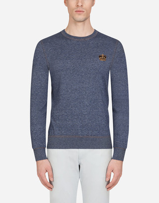 Dolce & Gabbana Crew Neck Cotton Sweater With Patch