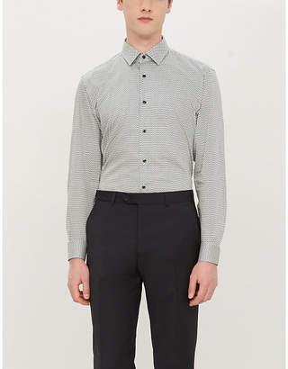BOSS Polka dot slim-fit cotton shirt