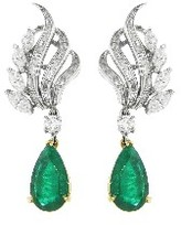 Other Designers Emerald and Diamond Earrings - Platinum