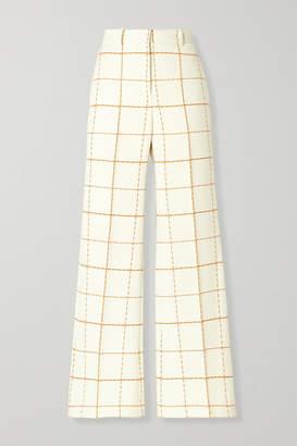 Victoria Beckham Checked Wool-blend Twill Wide-leg Pants - Ivory