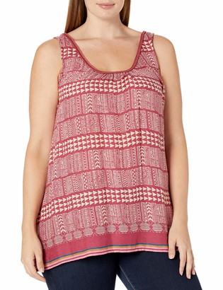 Lucky Brand Women's Plus Size Red Geo Tank Top