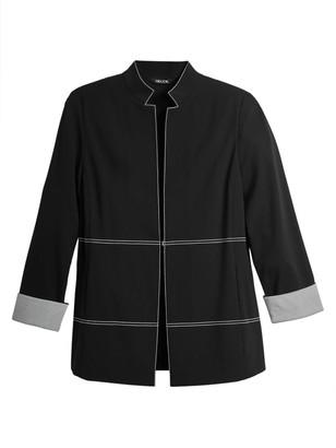 Misook Contrast Stitch & Cuff Ponte Zip Jacket