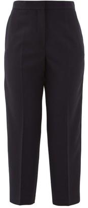 Jil Sander Pleated Wool Cropped Trousers - Womens - Navy