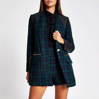 River Island Womens Navy tartan check faux leather blocked blazer