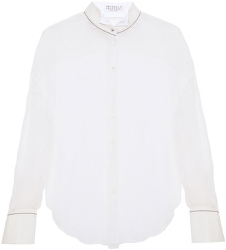 Brunello Cucinelli Bead-embellished Metallic Woven-trimmed Silk-georgette Shirt