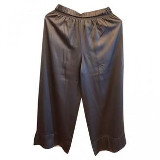 Theory Khaki Silk Trousers