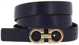 Salvatore Ferragamo Belt Gancini Buckle Belt Adjustable And Reversible In Genuine Score Leather