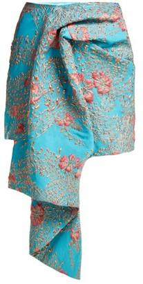 Halpern Draped Metallic Cloque Mini Skirt - Womens - Blue Multi