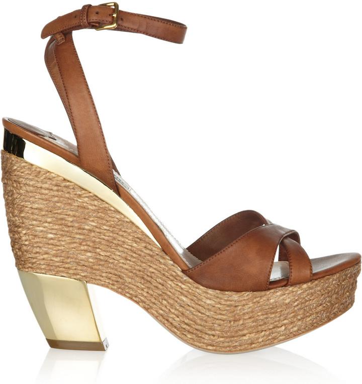 Miu Miu Metallic-trimmed leather sandals