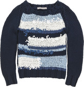Ermanno Scervino Navy blue loose stitch knit sweater (141914)