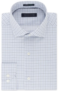 Tommy Hilfiger Men's Classic/Regular Fit Th Flex Stretch Non-Iron Blue Check Dress Shirt