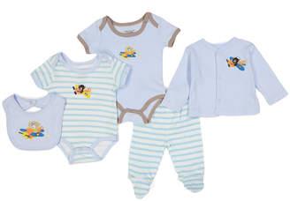 Sweet & Soft Boys' Infant Bodysuits Light - Light Blue Airplane Layette Set - Newborn & Infant