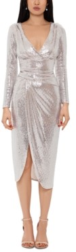 Betsy & Adam Metallic Faux-Wrap Midi Dress