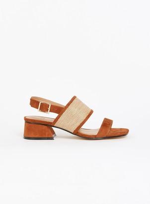 Evans EXTRA WIDE FIT Tan Weave Flared Heel Sandals