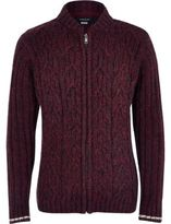 River Island Boys burgundy cable knit bomber cardigan