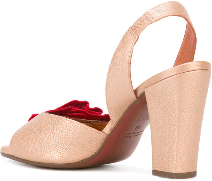 Chie Mihara red ruffle sandals