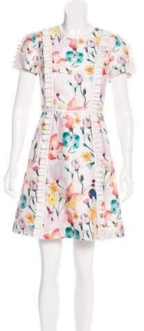 Thomas Wylde Floral Print Ruffle-Trimmed Dress