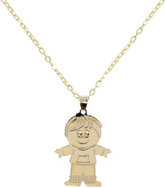"Italian Gold Boy Pendant with 18"" Chain, 14K Gold"