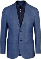 Corneliani Blue Hemp And Wool Blend Blazer