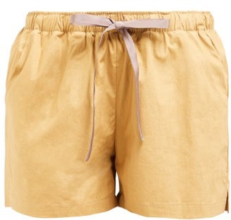 Marios Schwab On The Island By Sennen Cotton-poplin Shorts - Womens - Khaki