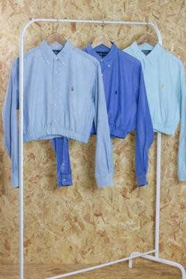 Urban Renewal Vintage Remade From Vintage Polo Ralph Lauren Blue Elasticated Crop Shirt - Blue M/L at Urban Outfitters