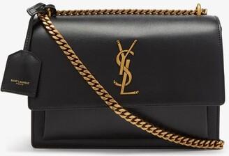 Saint Laurent Sunset Medium plaque Leather Shoulder Bag - Black