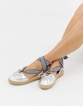 Glamorous metallic espadrilles with embellishment-Silver