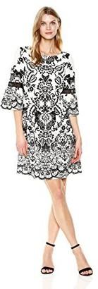 Sandra Darren Women's 1 Pc 3/4 Bell Sleeveprinted Scuba Crepe Fit & Flare Dress