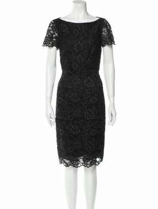 Diane von Furstenberg Lace Pattern Knee-Length Dress Black