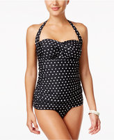Lauren Ralph Lauren Retro Polka Dot Tummy Control Swimdress
