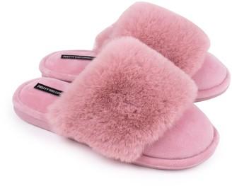 Pretty You London Danni Super-Soft Mule Slippers In Pink