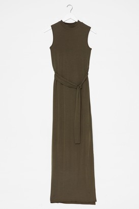 Nasty Gal Womens Take It to the Maxi Slit Belted Dress - Khaki