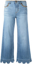 RED Valentino Wide leg scalloped hem jeans - women - Cotton/Polyester/Spandex/Elastane - 27