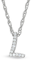 "Zales Diamond Accent Initial ""L"" Pendant in Sterling Silver"