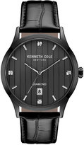Kenneth Cole New York Men's Diamond Accent Black Leather Strap Watch 42x50mm 10030660