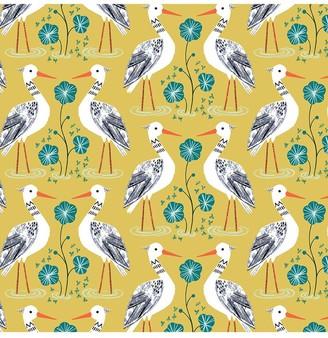 Dashwood Studio Heron Print Fabric, Mid Yellow