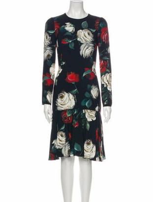Dolce & Gabbana Roses Knee-Length Dress Black