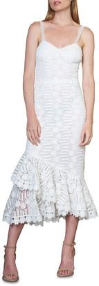 ML Monique Lhuillier Sweetheart Sleeveless Lace Midi Dress w/ Tiered Hem