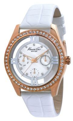 Kenneth Cole NEW YORK Ladies' Rose Gold & Crystal Watch with White Leather Strap