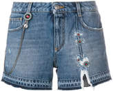 Ermanno Scervino ripped embroidered denim shorts