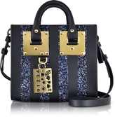 Sophie Hulme Black Saddle Leather Albion & Navy Blue Glitter Box Tote Bag