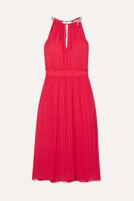 MICHAEL Michael Kors Hayden Chain-embellished Pleated Georgette Dress - Papaya