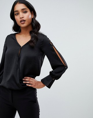 Lipsy wrap front blouse in black