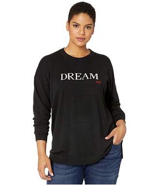 Lauren Ralph Lauren Plus Size Dream Knit Cotton-Blend Sweater (Polo Black/Mascarpone Cream) Women's Clothing